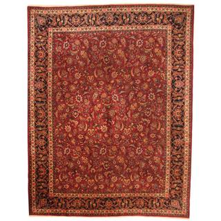 Antique 1960's Persian Hand-knotted Mashad Burgundy/ Navy Wool Rug (10' x 12'9)