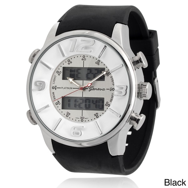 Geneva Platinum Men's Multi-Function Digital Silicon Watch