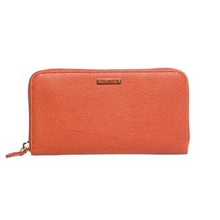 Fendi 'Crayons' Orange Leather Zip-around Wallet