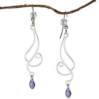 Jewelry by Dawn Long Curved Sterling Silver Earrings With Purple Crystals
