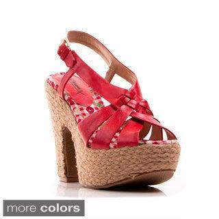 Gomax Women's 'Jackie'O 12' Slingback Platform Wedge Sandals