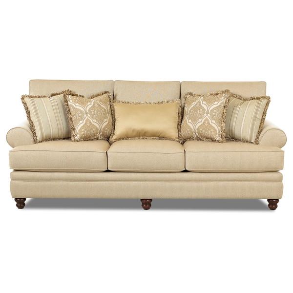 Daryn Classic Straw Beige Fabric/ Wood Sofa