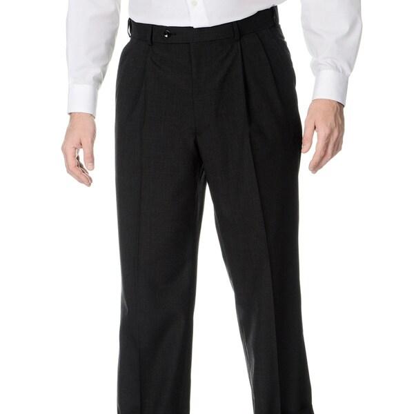 Henry Grethel Men's Pleated Front Self Adjusting Expander Waist Charcoal Grey Pant