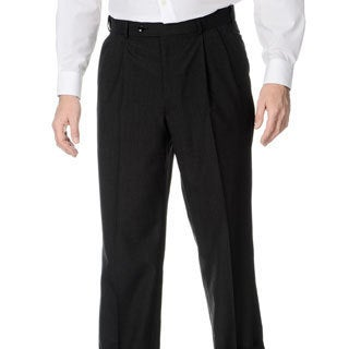 Henry Grethel Men's Pleated Front Self Adjusting Expander Waist Charcoal Grey Pant