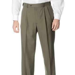 Henry Grethel Men's Pleated Front Self Adjusting Expander Waist Olive Suit Pant