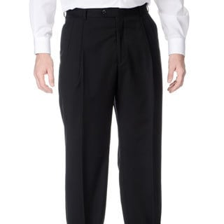 Henry Grethel Men's Stretchable Waistband Pleated Front Black Pant