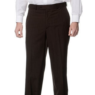 Palm Beach Men's Flat Front Self Adjusting Expander Waist Brown Pant