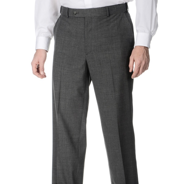 Henry Grethel Men's Md. Grey Self Adjusting Expander Waist Flat Front Pant