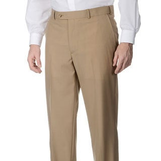 Henry Grethel Men's Camel Self-adjusting Expander Waist Flat-front Pants