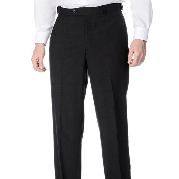 Henry Grethel Men's Flat Front Self Adjusting Expander Waist Charcoal Grey Pant