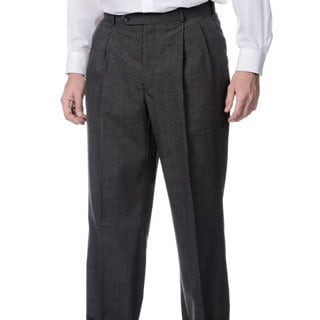 Henry Grethel Men's Md. Grey Self Adjusting Expander Pleated Front Waist Pant