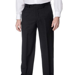 Henry Grethel Men's Stretchable Waistband Flat Front Charcoal Pant