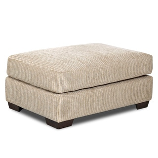 Made to Order Turner Putty Beige Fabric/ Wood Ottoman