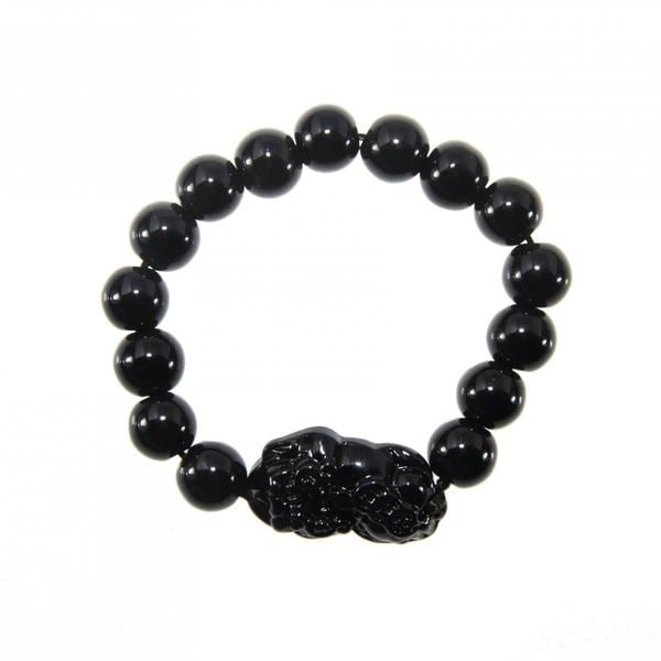 Handmade Black Obsidian Blessing Animal Stretch Bracelet (China)