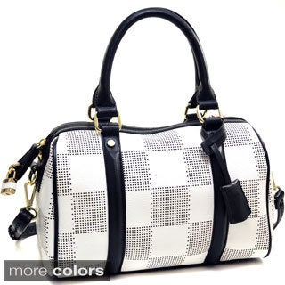 Isabelle Checkered Barrel Satchel