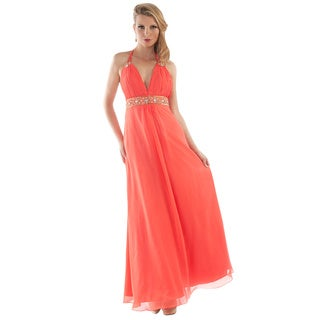 Daniella Couture Women's Coral Beaded-waist Halter Gown