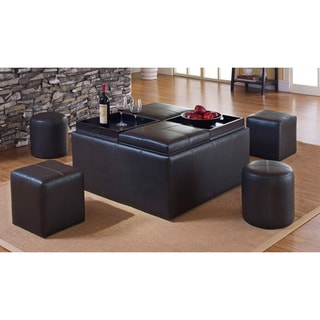 Armen Living 'Villa' Matte Brown 9-piece Ottoman Set