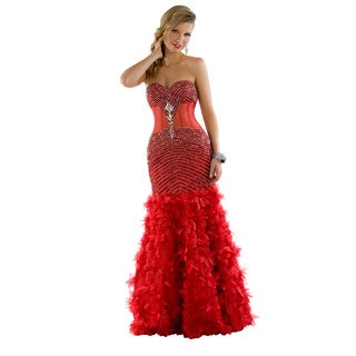 Daniella Couture Women's Red Rhinestone-encrusted Feather Skirt Dress