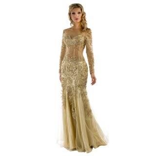 Daniella Women's Nude Floral-beaded Mesh-waist Gown