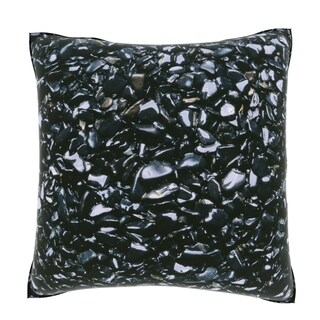 Maxwell Dickson Black Smooth Stones 18-inch Velour Throw Pillow