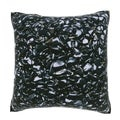 Maxwell Dickson Black Smooth Stones 18-inch Velour Throw Pillow