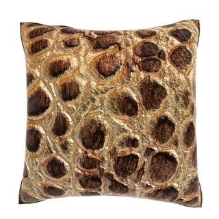 Maxwell Dickson Natural Decorated Leather 18-inch Velour Throw Pillow