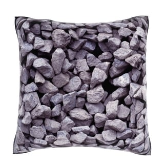 Maxwell Dickson Grey Stone Pebbles 18-inch Velour Throw Pillow