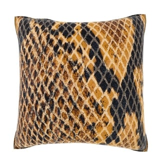 Maxwell Dickson Snakeskin Leather Texture 18-inch Velour Throw Pillow