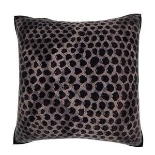 Maxwell Dickson Black Snakeskin Leather 18-inch Velour Throw Pillow