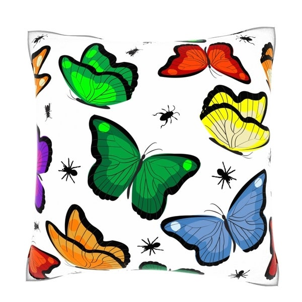 Maxwell Dickson Butterflies with Insects 18-inch Velour Throw Pillow