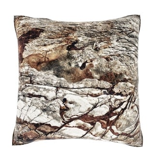 Maxwell Dickson White Eroded Rock Texture 18-inch Velour Throw Pillow