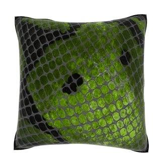 Green Snake Skin 18-inch Velour Throw Pillow