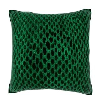 Green Snakeskin Leather 18-inch Velour Throw Pillow