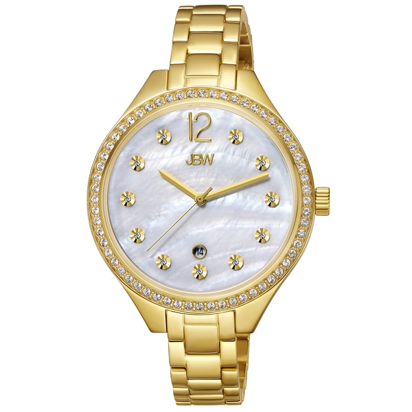 JBW Women's 'Mia' Crystal Yellow Goldtone Stainless Steel Watch