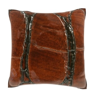 Natural Brown Leather 18-inch Velour Throw Pillow
