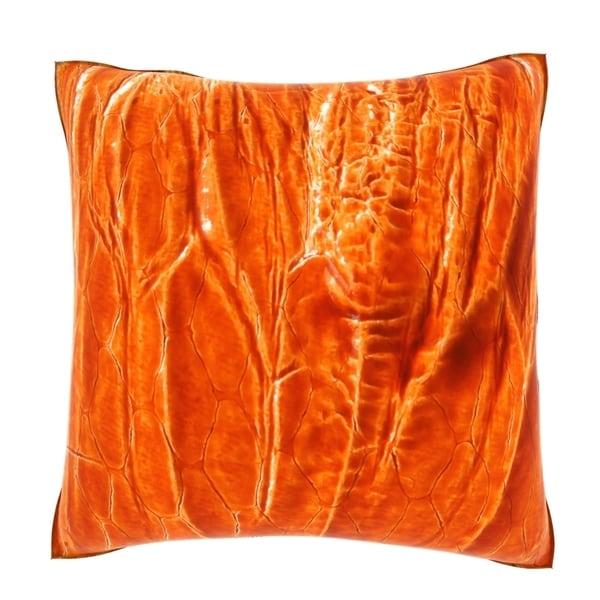 Velour Throw Pillows : Natural Orange Leather 18-inch Velour Throw Pillow