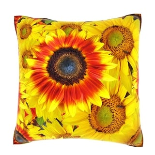 Bright Sunflower Heads 18-inch Velour Throw Pillow
