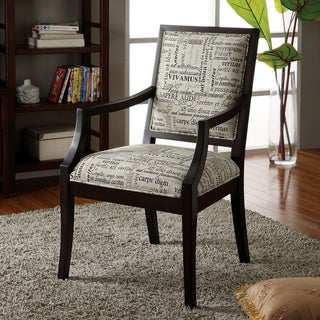 Furniture of America 'Brawzie' Script Printed Fabric Accent Chair