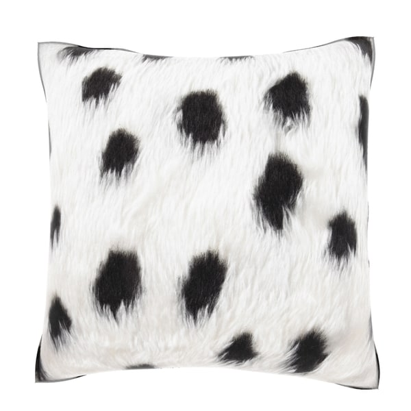 Black Spotted Faux Fur 18-inch Velour Throw Pillow