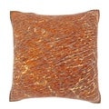 Natural Textured Brown Leather 18-inch Velour Throw Pillow