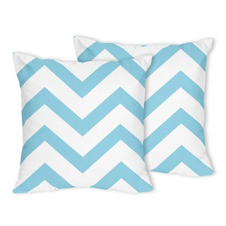 Sweet Jojo Designs Turquoise/ White Chevron Throw Pillows (Set of 2)