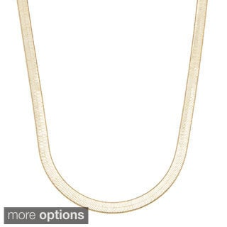 Simon Frank 7mm 14K Gold Overlay or Silvertone Herringbone Necklace