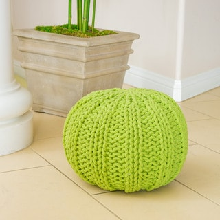 Christopher Knight Home Joey Cotton Braided Green Pouf