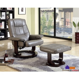 Furniture of America 'Chester' Grey Swivel Lounger Chair with Ottoman