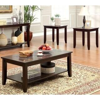 Furniture of America 'Kalani' Mosaic Insert 3-piece Coffee/ End Table Set