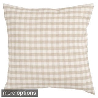 Plaid Houndstooth Beige Decorative Pillow
