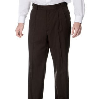 Palm Beach Men's Pleated Front Self Adjusting Expander Waist Brown Pant