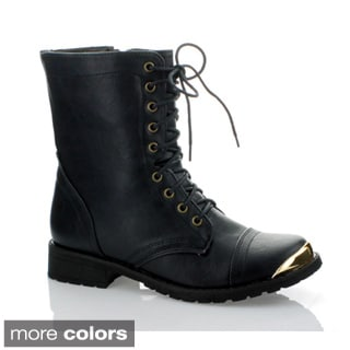 Marilyn Moda Women's 'Minita-01' Lace-up Metallic Toe Boots