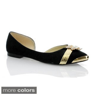 Marilyn Moda Women's 'Mija-02' Metallic Accent Flats