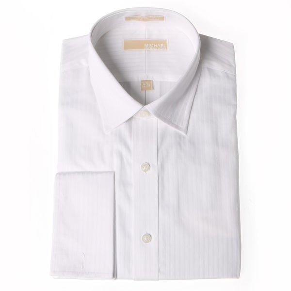 Michael Kors Men's White Striped Dress Shirt